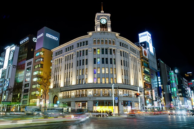 View of building in Ginza during the night