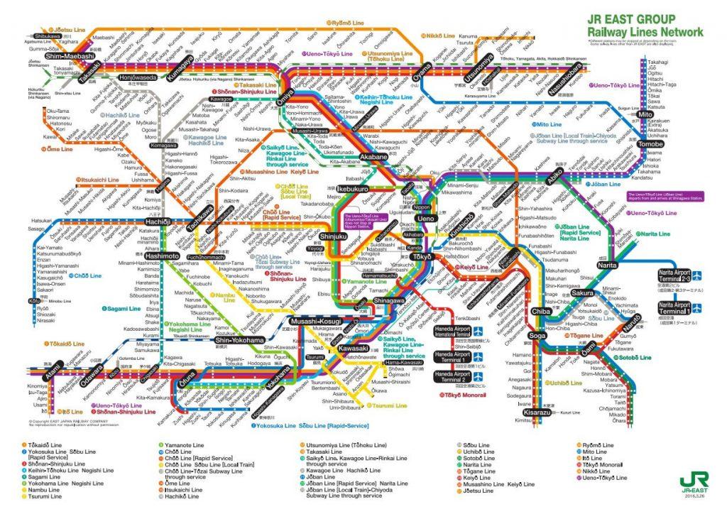 Tokio train line map