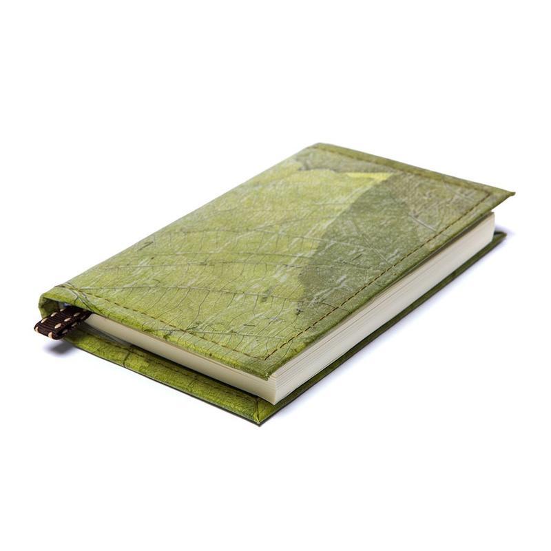 libreta hecha a mano con forro de piel a base de hojas vegano sostenible ecologico regalos veganos