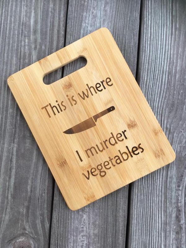 regalo vegano, tabla de cortar, regalo vegetariano, tabla de cortar bambú, aquí es donde asesino verduras, tabla de cortar divertido