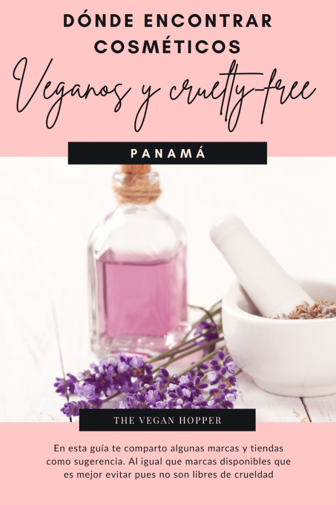 cosmeticos veganos en panama texto, sobre fondo rosa y con una imagen de frasco con liquido morado, flores moradas y mortero blanco.