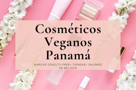 Texto Cosmeticos veganos Panama sobre fondo rosa con flores y maquillaje