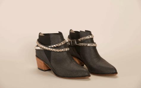 zapatos veganos, botas negras con detalle metalico
